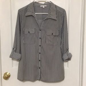 Black and White Striped Button Down Blouse